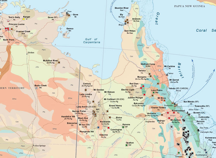 Australia and Oceania Mining Map