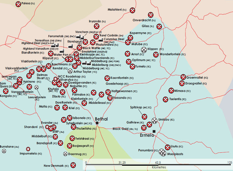 Southern Africa Mining Map