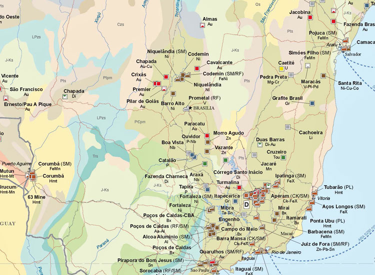Major Mines and Metallurgical Facilities of South America