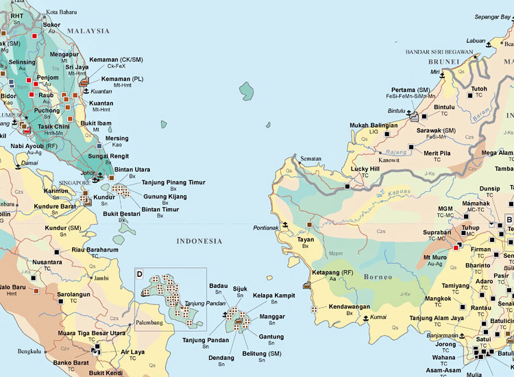 Major Mines and Metallurgical Facilities of South East Asia