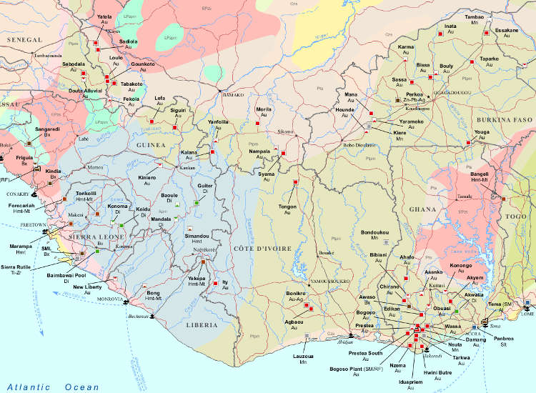 Major Mines and Metallurgical Facilities of Western Africa