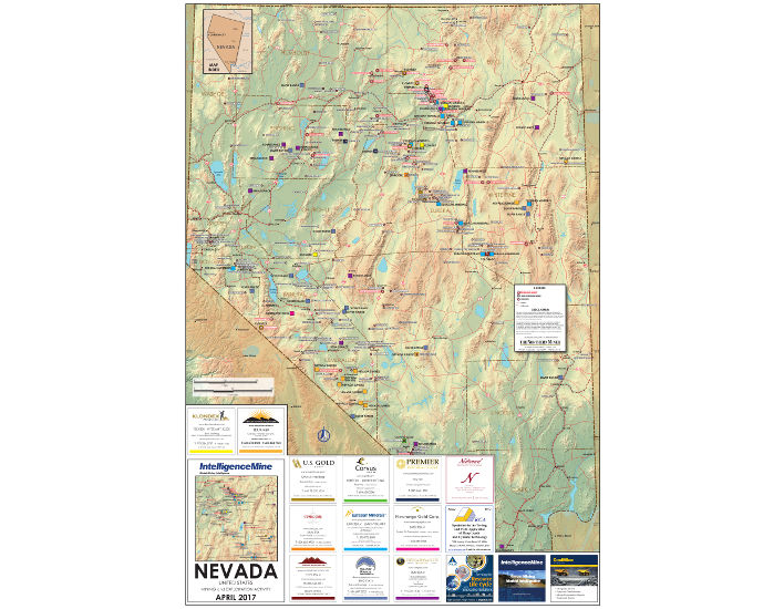 Nevada, USA Mining Map